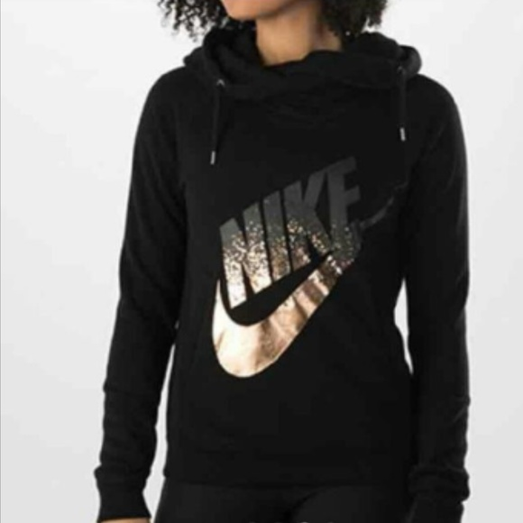 484c937a Nike Black Hoodie with Rose Gold Swoosh - L. M_5bc12781c9bf50ec5584f880